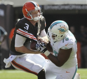 browns dolphins sack